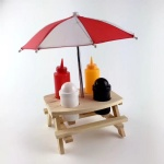 Wooden Picnic Table Sauce Holder