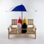 Wooden Picnic Table Condiment Holder